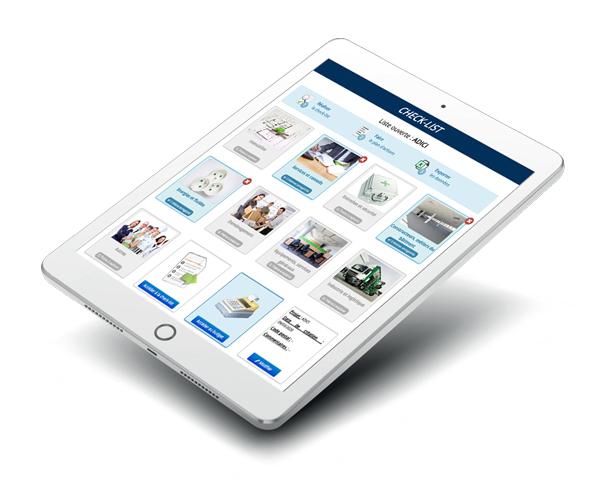 Tablette ADICI avec ADI-ALgo check list déménagement d'entreprise