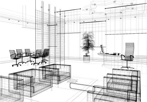 Visualisation filaire d'une implantation d'entreprise